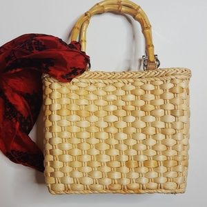 Vintage Bamboo and Straw Mini Tote Bag